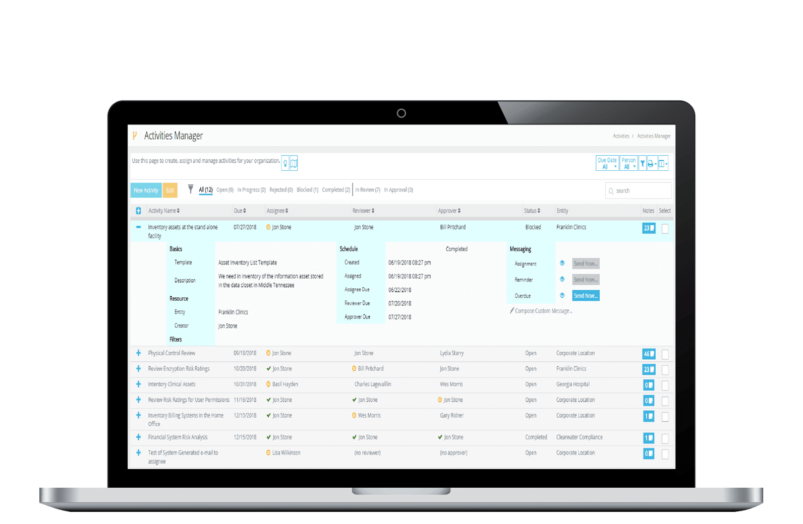 IRM Pro HIPAA Compliance Software - Activities Manager